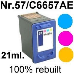 Drucker-Patrone rebuilt HP (NO.57/C6657AE) Color HP PSC-1100/1110/1200/1205/1210/1215/1217/1219/1300/1310/1312/1315/1317/1340/1345/1350/1355/2000/2100/2105/2115/2150/2170/2175/2200/2210/2400/2405/2410/2420/2450/2500/2510/2550